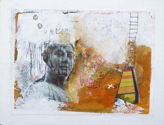 Mischtechnik auf Papier - 18x24x3 cm -  Papier kaschiert auf Malgrund (24 x 18 x 3 cm) - Titel: Die Leiter zur Welt