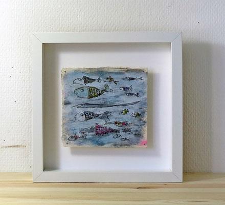 Finnpappe mit Malerei-Mischtechnik in dreidimensionaler Rahmung - Rahmenmaße: 23x23 cm - Titel: Fischkarte