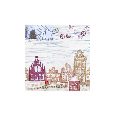 Mischtechnik auf Papier - 10 x 10 cm - Serie: Stadtlandschaften -verkauft-