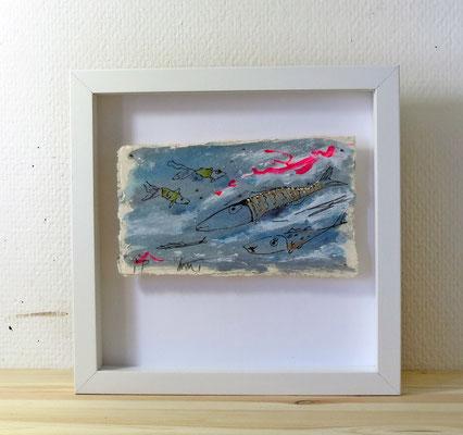 Finnpappe mit Malerei-Mischtechnik in dreidimensionaler Rahmung - Rahmenmaße: 23x23 cm - ohne Titel