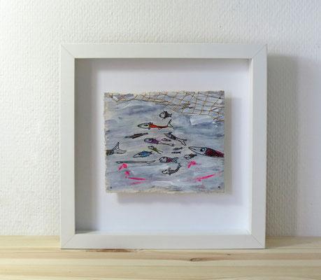 Finnpappe mit Malerei-Mischtechnik in dreidimensionaler Rahmung - Rahmenmaße: 23x23 cm - Titel: Nicht im Netz