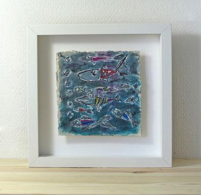 Finnpappe mit Malerei-Mischtechnik in dreidimensionaler Rahmung - Rahmenmaße: 23x23 cm - Titel: Alle meine Fische
