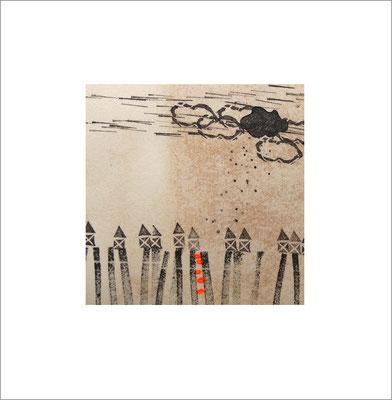 Mischtechnik auf Papier - 10 x 10 cm - Serie: von heute bis damals -verkauft-