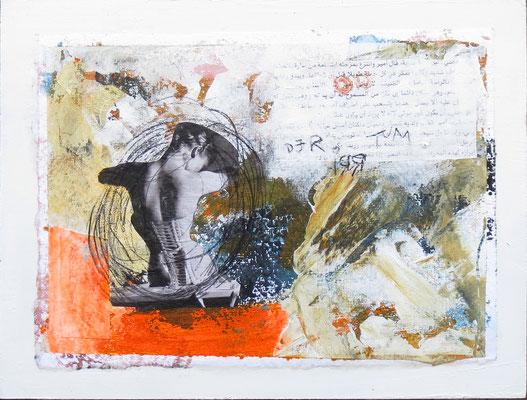Mischtechnik auf Papier - 18x24x3 cm -  Papier kaschiert auf Malgrund (24 x 18 x 3 cm)- Titel: Der Irrtum