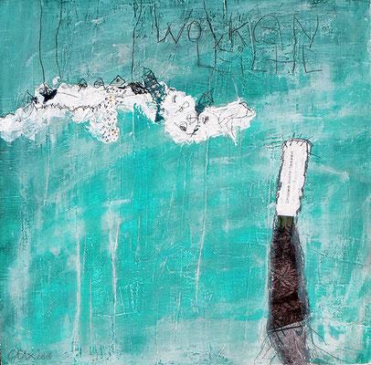 Wolkenleicht - Acryl auf Holzkörper - 33 x 33 cm - 2016 - verkauft -