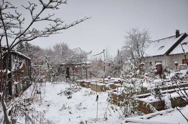 KW53-28.12.2020  ca 4°C es hat geschneit und alles ist weiß. Heute soll es noch mehr schneien.