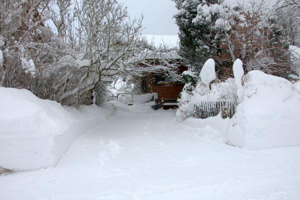 der Eingangsbereich von Schnee eingerahmt
