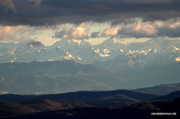 Blick von meiner kleinen Welt in die Welt der Schweizer Alpen. Bildmitte von links Eiger - Mönch - Jungfrau