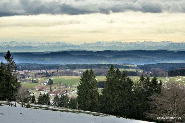 Blick über Rickenbach zu den Schweizer Alpen