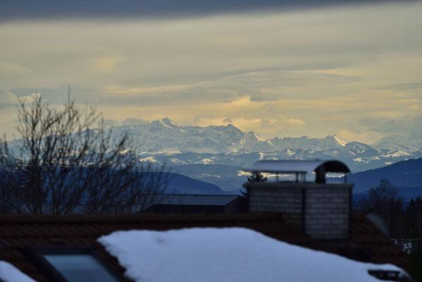 Der Säntis frei sichtbar mit dem Sendeturm auf seinem Gipfel