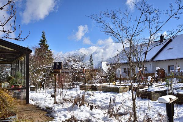 KW6-05.02.2020 über Nacht hat es geschneit, jetzt am Tag scheint die Sonne