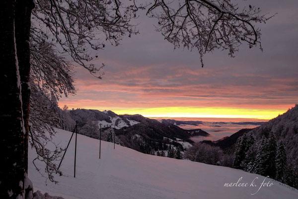 Sonnenuntergang Scheltendenpass