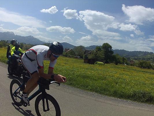 Mario Weise auf der flachen Radstrecke