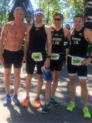 Gruppenfoto nach dem Rennen vlnr Michael Schädler (4. LM), Marc Ruhe (1. LM), Daniel Gassner (3.LM), Christian Harzenmoser (3.LM)