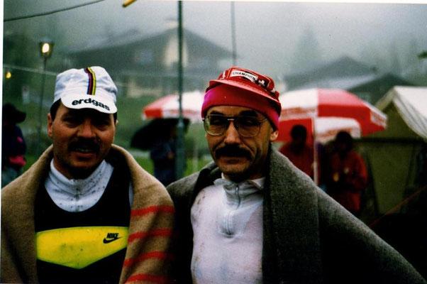 Alpinman Duathlon 2.10.1993 Malbun - Peter Geiger (rechts) mit Jakob Büchel