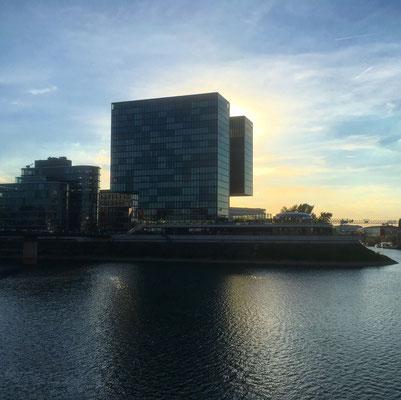 Unser Hotel Hyatt Regency mit Blick auf die Schwimmstrecke
