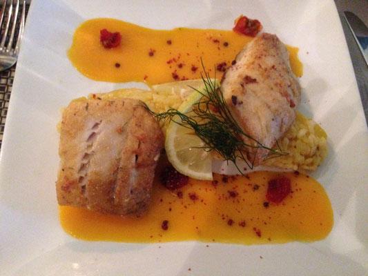 """Essen in der """"Insel"""": Seelachs auf Mango-Risotto und Ingwer-Karotten-Sauce"""