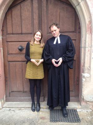Nach dem Erntedank-Gottesdienst mit Pfarrer Wohlfarth und meiner ersten Predigt