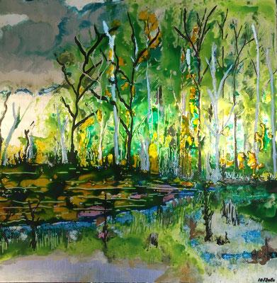 Landschaft Birkenwald im Moor (Acryl und Tusche auf Alu Bond in 30x30)