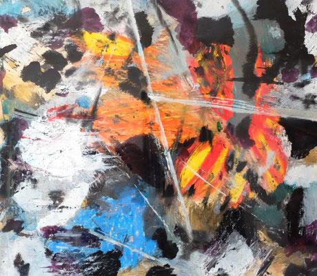 29042020 Abstract Worlds o.T. Acryl und Tusche auf Papier in 40x50 (mit PT im Rahmen)