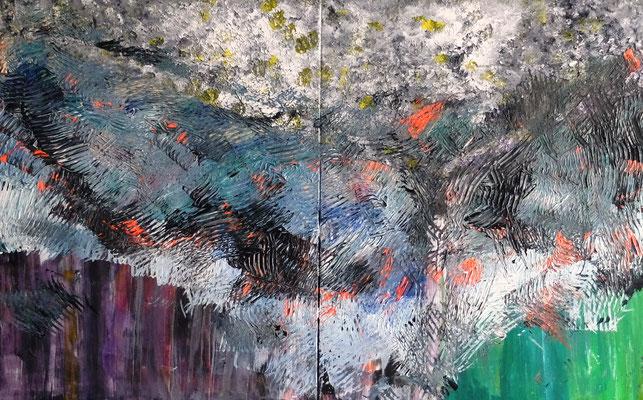 Abstract World o.T. Acryl und Tusche auf LW in 100x160 (2x100x80)