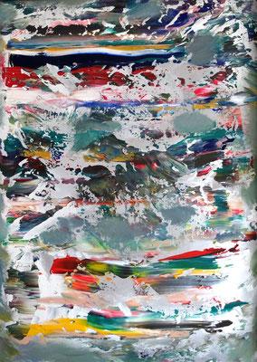 """""""Abstract Worlds, Acryl auf Karton in 90x68, Testobjekt mit altem Rahmen..."""