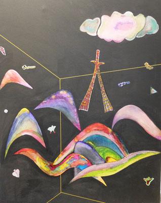 """""""Wassily"""" Hommage an Wassily Kandinsky einem der führenden Surrealisten   Acryl und Tusche auf LW in 80x100"""