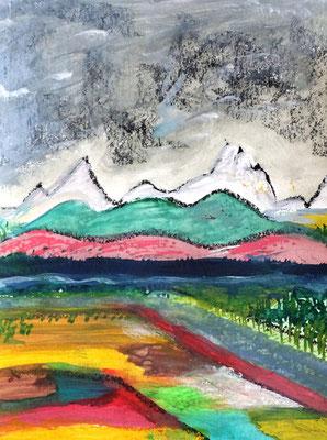 Neue Farbigkeit, Landschaft mit Bergen in32x24 (04/2017)