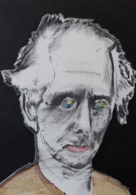 """Portrait """"Max Ernst"""" 2018,  Acryl, Kreide, Kohle auf HDF Platte in 50x70"""