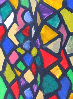 Abstraktes Bild (Skizze für ein  Glasfenster),   Acryl auf Papier in 31x24