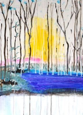 Im Auwald, Abstraktion 2016, Acryl auf HDF in 50x70