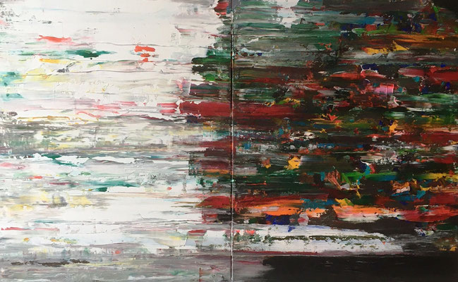 First Paintings 02 2021 (Januar 21) Acryl und Tusche auf LW in 100x160 (2x100x80)