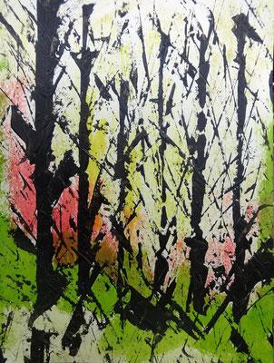 Birkenwäldchen, Acryl und Tusche auf Papier in 24x31, 04/2013    >>>Privatbesitz