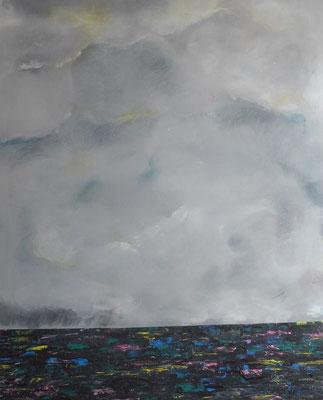 """Zyklus Horizonte """"Wolken überm Meer"""", Acryl und Tusche auf LW in 80x100 09/2017"""