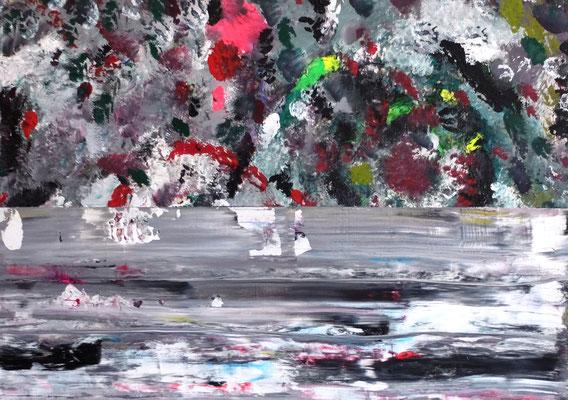 Blumen und Eis / Flowers and Ice ,  Acryl auf Holzplatte  (Ulmer Malgrund) in 80x120