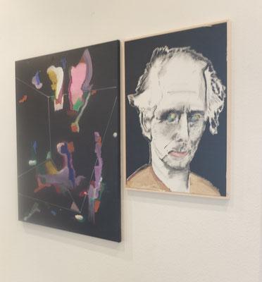 """""""Peggy"""" und Portrait neben der Ateliertür im Flur in Halle 17  1. OG"""