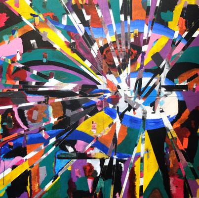 """""""Abstract Worlds"""" Splitter 1 , Acryl und Tusche auf 4 Hartfaserplaten (Ulmer Malgrund) in 160x160 (4 zusammengverschraubte Platten a 80x80) 082018"""