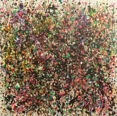 Dripping 012018 o.T.   Acryl und Tusche auf Leinwand in 100x100