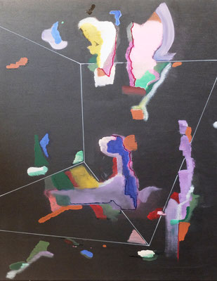 """""""Peggy"""" - Abstrakter Maler im """"Goldenen Käfig"""" , Acryl und Tusche auf Leinwand in 80x100"""