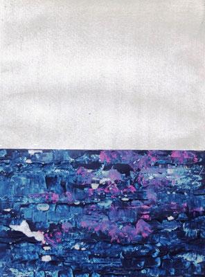 Horizont über blauer See, Acryl auf Papier in 24x31 (o6/2017)