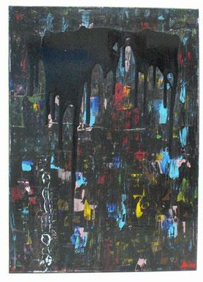 Schwarze Tränen , Acryl und Lack auf LW  in 50x70, 2010  /   Black tears              >>>sold