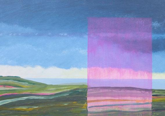 Zyklus Landschaften. Küstenlandschaft mit Fenster, Acryl auf HDF in 50x70