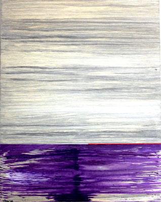 "Zyklus Horizonte, ""Horizont mit roter Linie"",  Acryl auf LW in 70x90, 2014"
