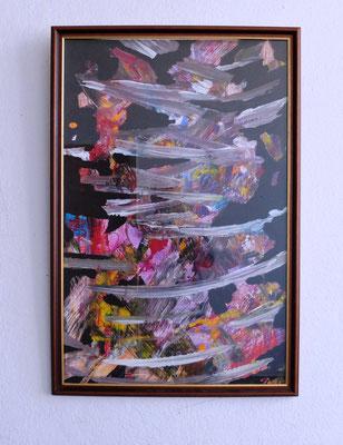 05 2019, Abstraktes Bild in altem Rahmen vom Trödel, Bild 90x60, Acrylauf Karton