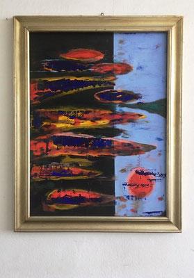 11 2019 Abstract Worlds o.T.  Abstraktes Bild im alten Rahmen 120x90 / mit Rahmen 140x120 >>>sold (mit Rahmen)