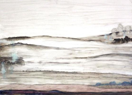 """Zyklus Landschaften, Landschaft bei Worpswede, Acryl auf HDF in 70x50, 02/2017 gemalt nachdem ich den Film """"Paula* gesehen habe (02/2017)"""