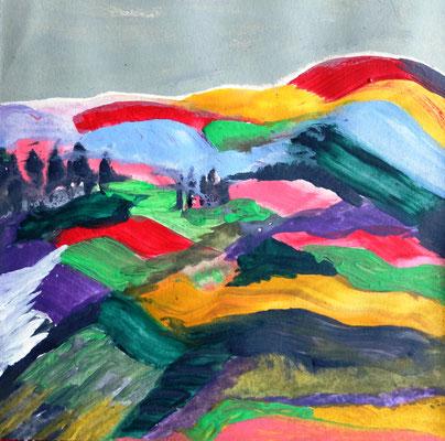 Neue Farbigkeit, Hügellandschaft, Acryl auf Papier in 20x20 (04/2017)