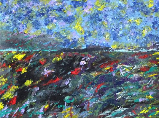 Horizont mit Blumenwiese,  Acryl auf Papier in31x24, 03/2017