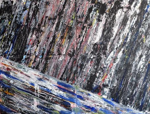 """""""Abstract Worlds"""" o.T. 08 2018,  Acryl und Tusche auf Leinwand in 200x150 ()"""