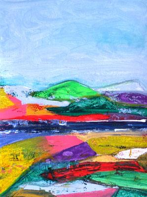 Neue Farbigkeit, Landschaft, Acryl auf Papier in 32x24 (04/2017)